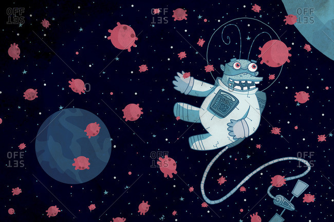 Creature floating in outer space
