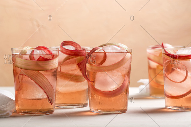 Rhubarb ribbon cocktails