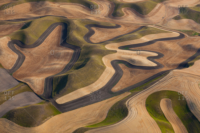 Farmland landscape, with ploughed fields and furrows in Palouse, Washington, USA An aerial view with natural patterns