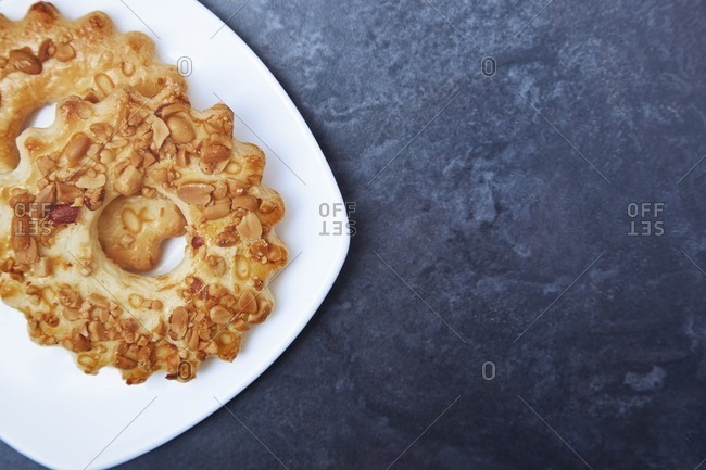 Overhead view of peanut butter cookie on a plate