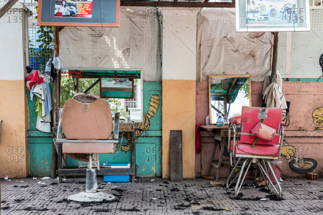 Cambodia - November 10, 2016: Outdoor hair cutting stations