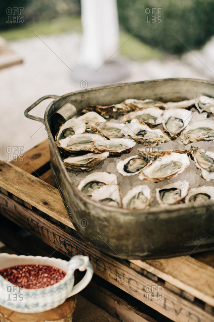 Oysters on ice in a rustic metal tray