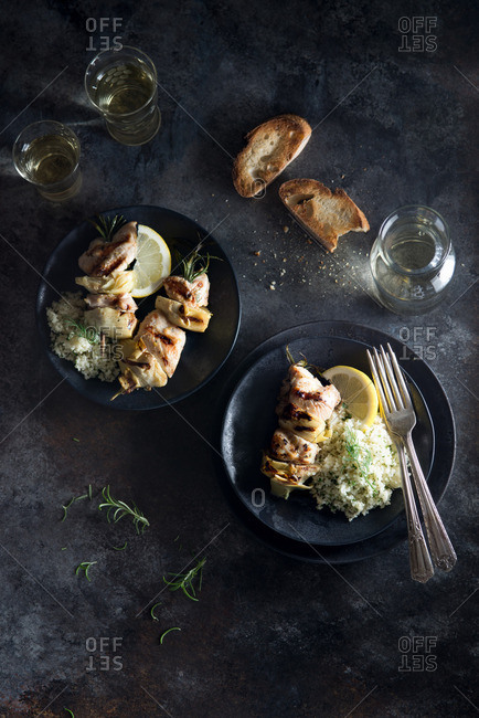 Grilled chicken and artichoke kebabs