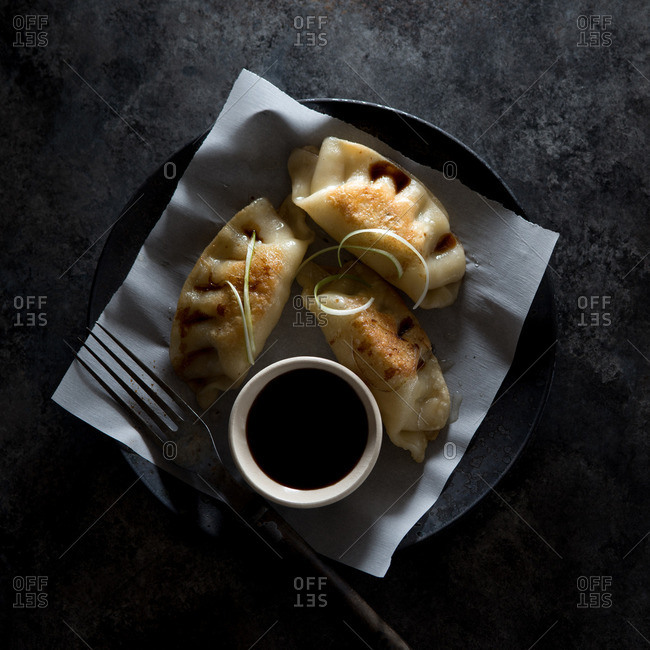 Fried pot sticker with dipping sauce