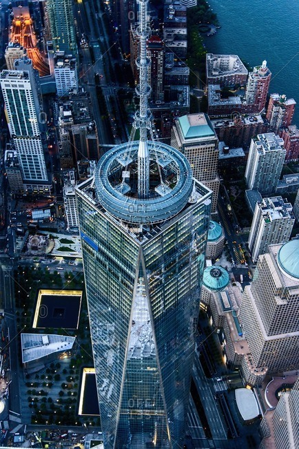 USA, New York State, New York City - October 15, 2016: Aerial view of One World Trade Center building