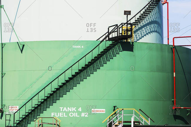 Stairs on wall of oil storage tank