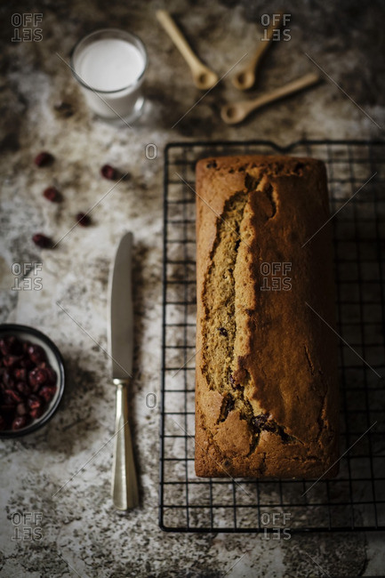 Plum cake loaf with sweet dried cranberries