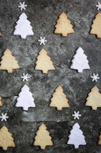 Christmas Tree Shaped Cookies And Snowflake Candies Stock Photo Offset