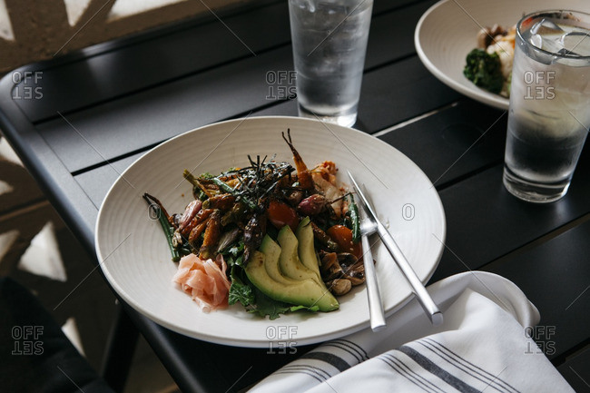 Various vegetables and avocado slices