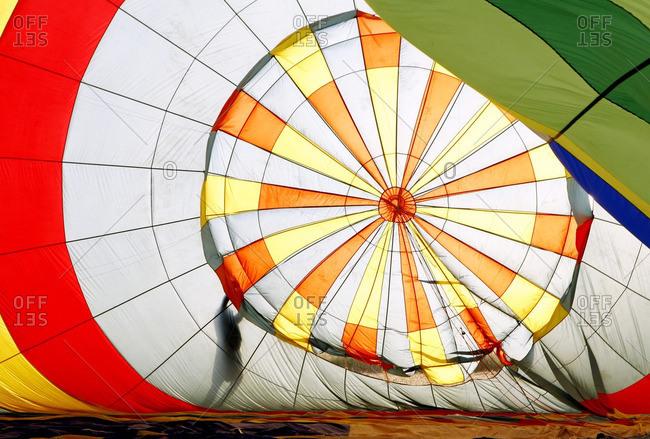 Interior of a hot air balloon being inflated, near Manacor, Mallorca, Balearic Islands, Spain, Europe