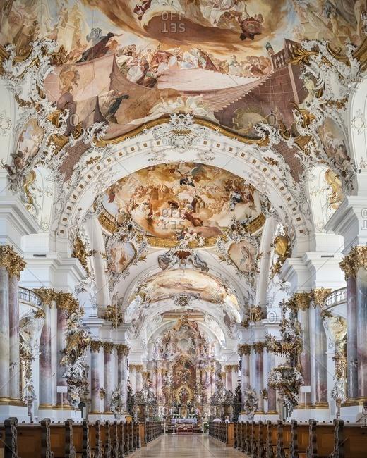 Swabian Alb, Germany - June 11, 2014: Interior of Zwiefalten Monastry with baroque architecture and paintings, Swabian Alb, Baden-Wuerttemberg, Germany