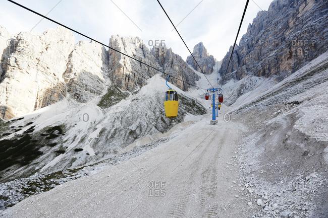 Cable car at Monte Cristallo, the Dolomites, Cortina d Ampezzo, Veneto, Italy