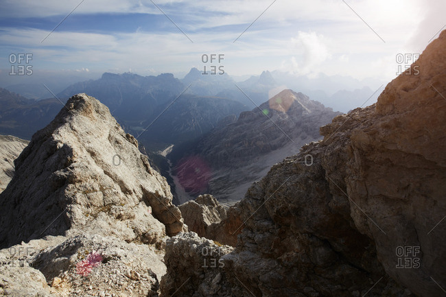 Via ferrata at Monte Cristallo Peak, the Dolomites, Cortina d Ampezzo, Veneto, Italy