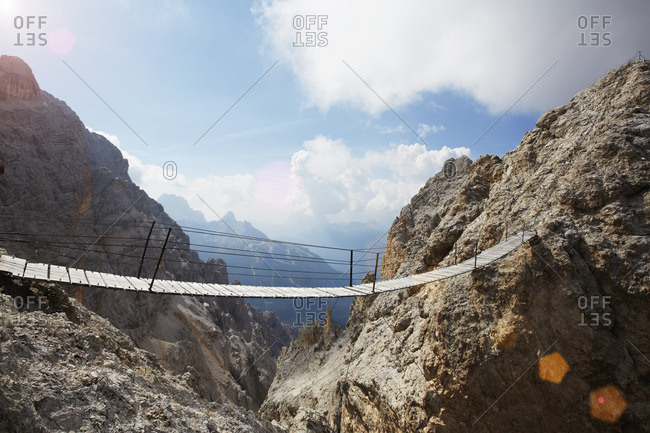 Suspension bridge, Monte Cristallo, the Dolomites, Cortina d Ampezzo, Veneto, Italy