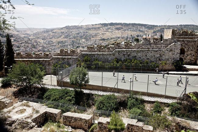 Jerusalem, Israel - November 18, 2016: People playing football, Jerusalem, Israel