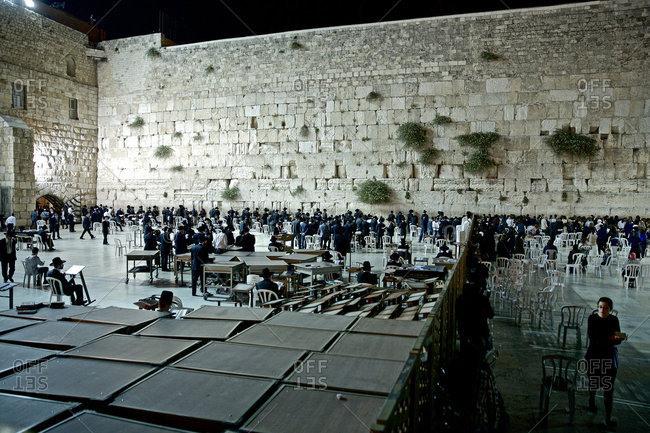 Jerusalem. Israel - November 18, 2016: A group of people praying at the Western Wall, Jerusalem, Israel