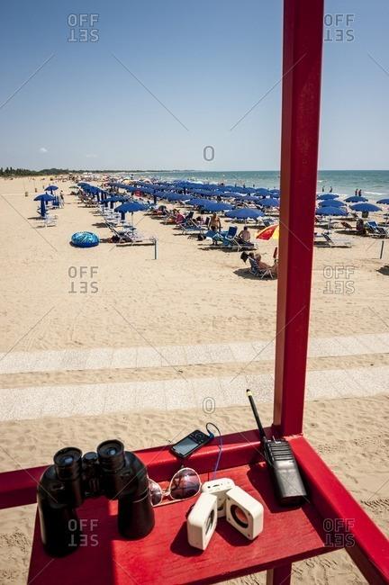 Venice, Italy - July 14, 2013: Lifeguards on the beach, Camping, Marina di Venezia, Punta Sabbioni, Venice, Italy, Europe, mediterranean Sea