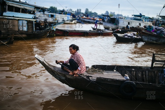 Chau Doc, Vietnam - October 2, 2016: The floating market in Chau Doc in the Mekong Delta, in southern Vietnam