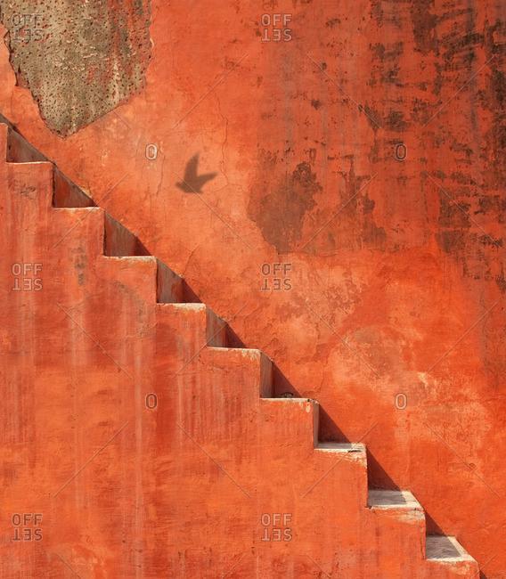 Orange steps at astrological park in New Delhi, India