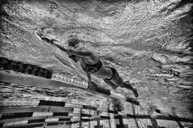December 29, 2013: Underwater view of a fitness swimmer in pool