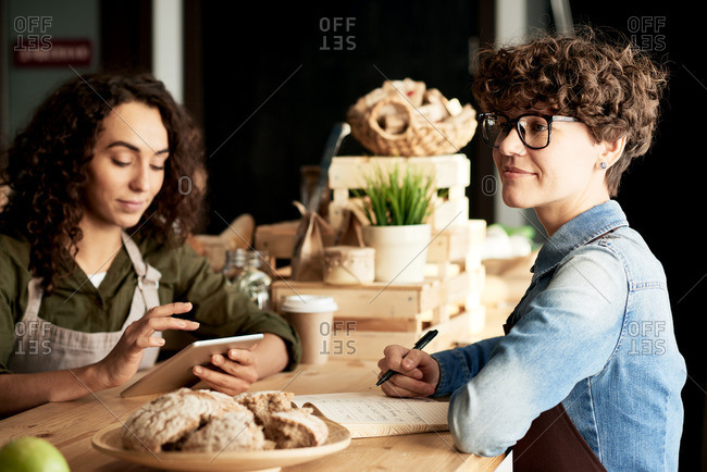 Female entrepreneurs in their natural products shop