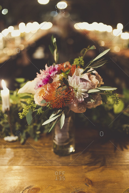 Floral arrangement at a wedding