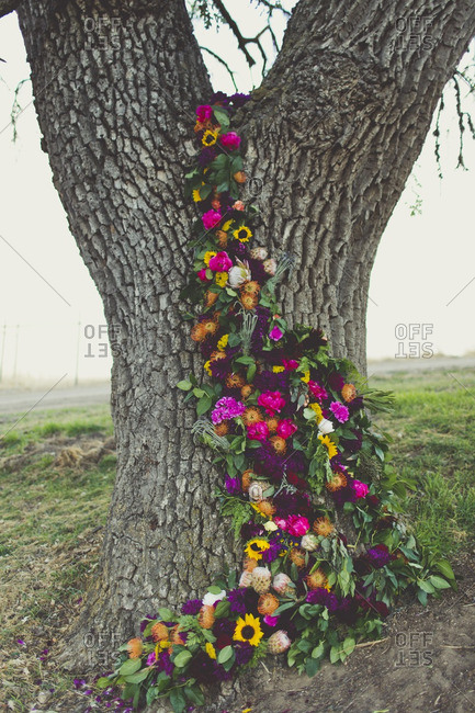 Floral decoration on a tree in the countryside