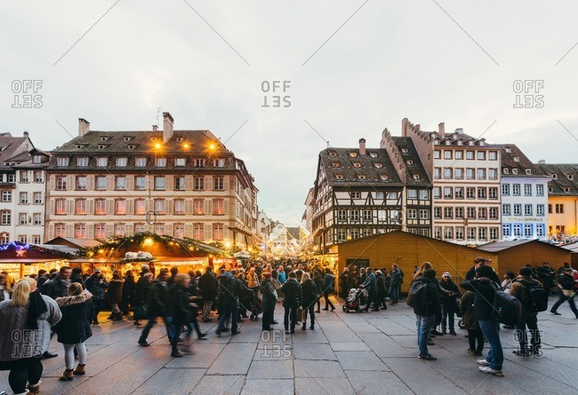 Strasbourg, France - December 6, 2015: View of the Christmas market in place de la Cathedrale