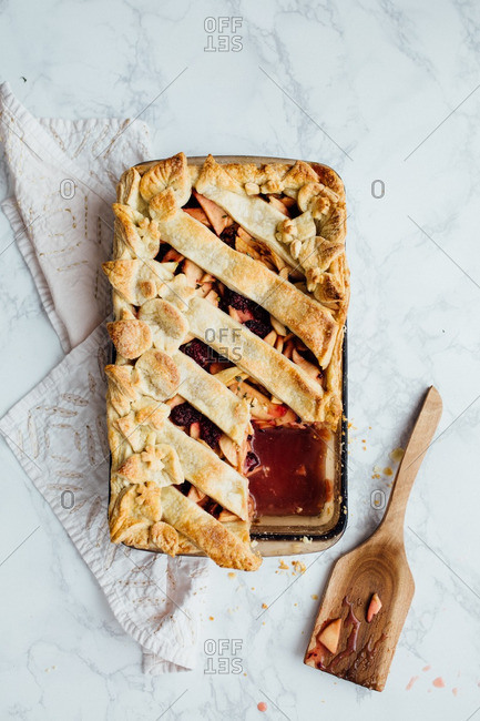 A rectangle fruit pie