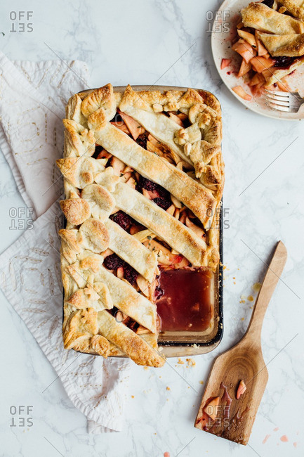 A rectangle fruit pie with