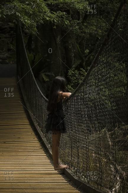 Girl on swinging bridge looking at nature