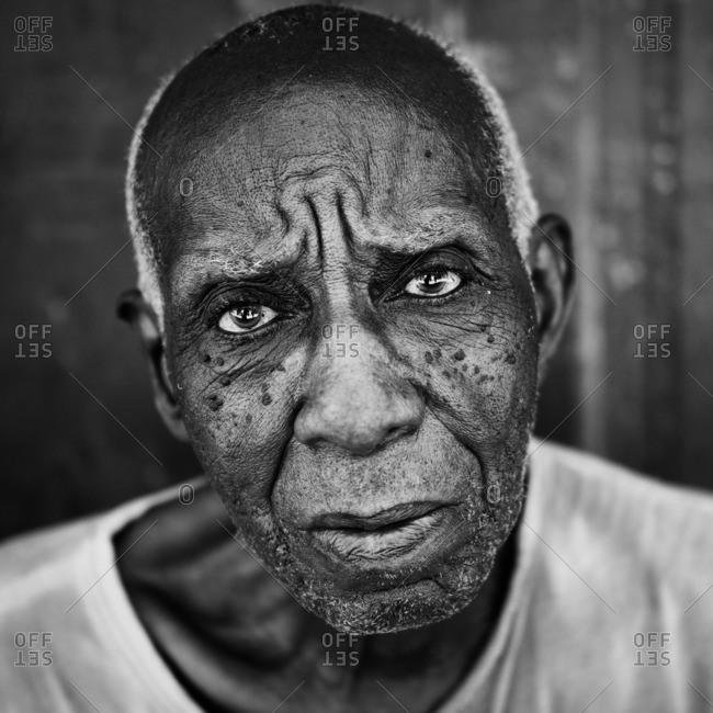 Havana, Cuba,  - August 27, 2016: Portrait of an elderly man in black and white