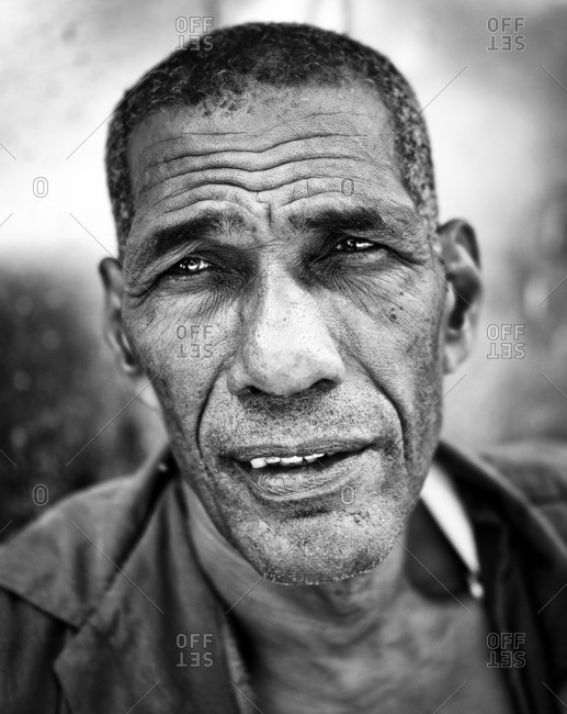 Havana, Cuba,  - September 3, 2016: Close up of a man in black and white