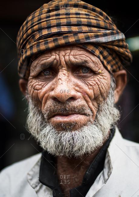 Delhi, India - November 5, 2015: Senior Indian man wearing a turban