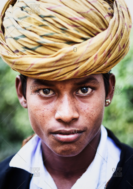 Delhi, India - November 5, 2015: Indian teenage boy wearing a turban