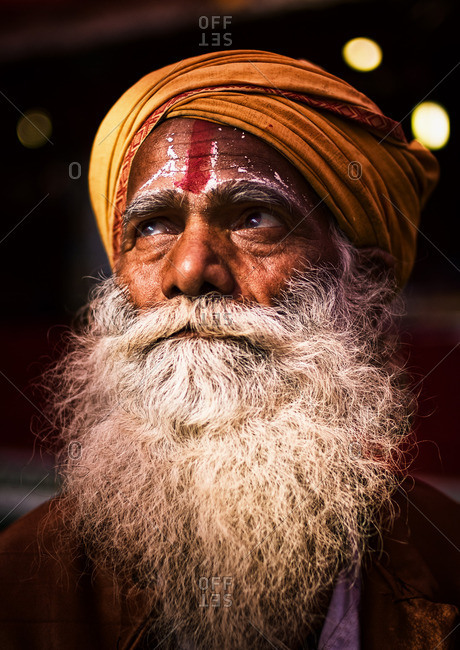 Delhi, India - November 8, 2015: Man with beard wearing a turban