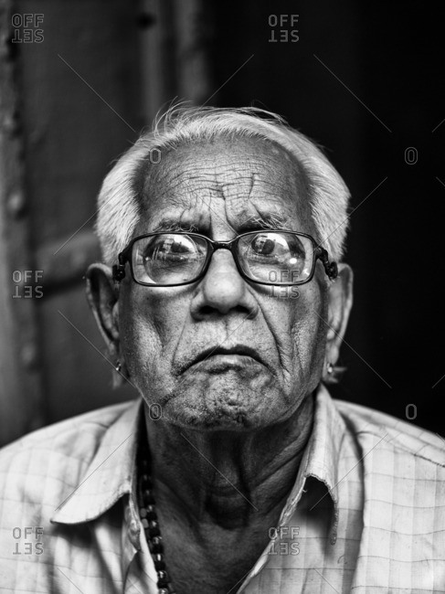 Jaipur, India - November 10, 2015: Senior Indian man wearing glasses
