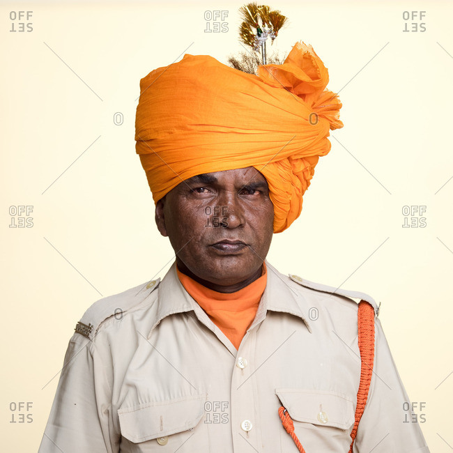 Jaipur, India - November 12, 2015: Indian military officer wearing orange turban