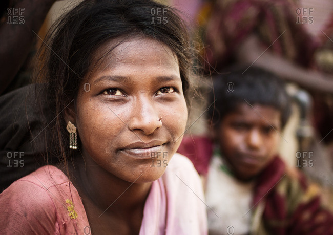 Varanasi, India - November 16, 2015: Portrait of a young Indian woman