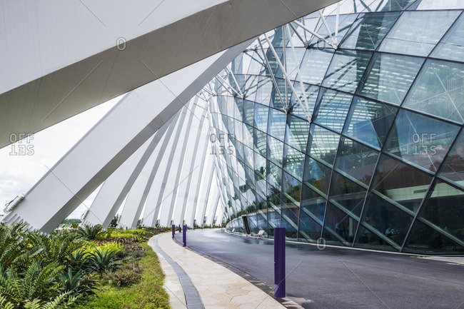 Singapore - January 20, 2013: Gardens by the Bay, view near the Flower Dome (Best Buildings of 2012 section: landscape, architect: Wilkinson Eyre and Grant Associates)