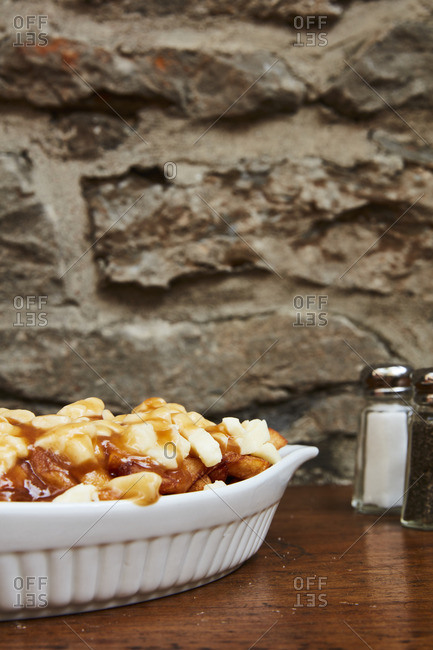 Poutine dish served in a restaurant