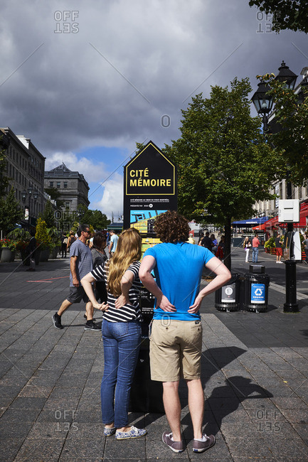 Montreal, Quebec, Canada - September 18, 2016: Tourists exploring the city of Montreal