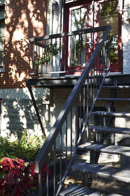 Front porch of residential house in Montreal