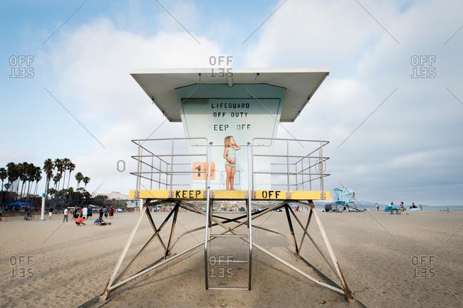Girl on restricted lifeguard platform