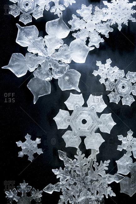 Decorative snowflakes on dark background