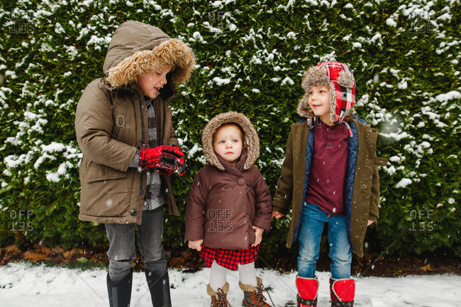 Three siblings standing by a bush on a snowy day