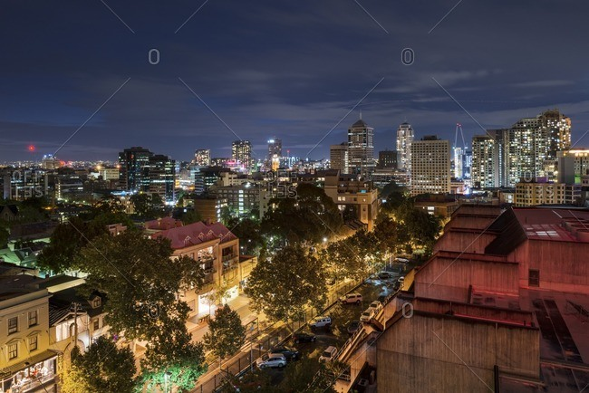 Sydney, Australia - October 30, 2016: City skyline at night