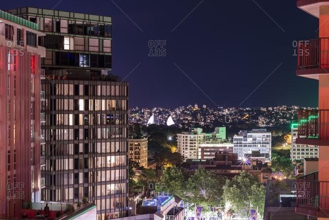 Sydney, Australia - October 30, 2016: City skyline and skyscrapers at night