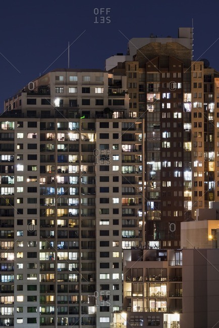 High rises illuminated at night in Sydney, Australia