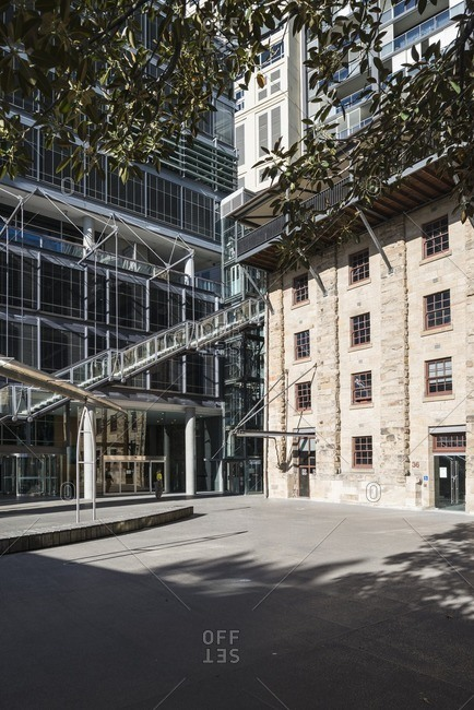 Sydney, Australia - November 2, 2016: Traditional and modern buildings at street level